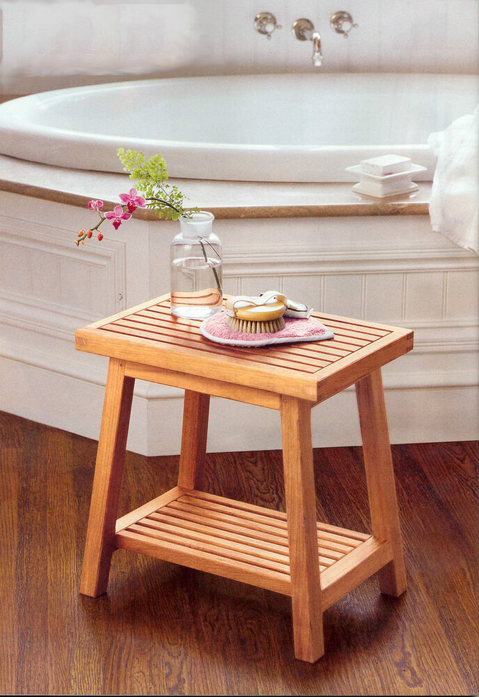 18 a grade teak side table bath stool end shower bench for Outdoor teak side table
