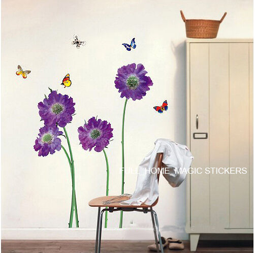 Purple Pollen Removable Wall Art Decal Sticker Diy Home: Purple Flower Vinyl Decal Wall Sticker Top Quality Home