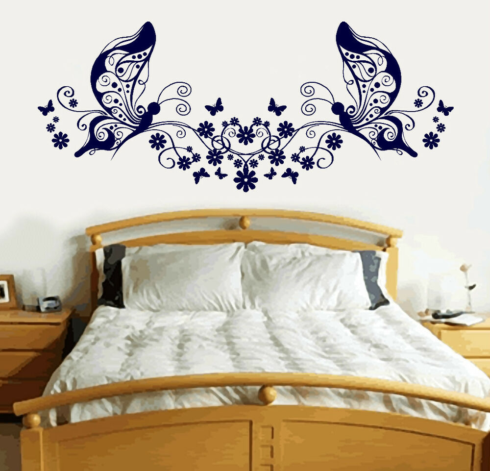butterfly love heart vinyl sticker wall art bedroom decal. Black Bedroom Furniture Sets. Home Design Ideas