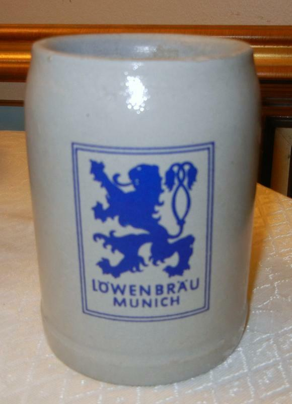Vintage Stoneware Lowenbrau Munich German Beer Stein Mug