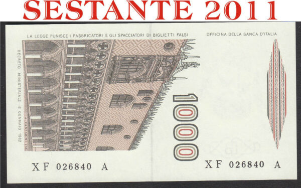 1000 LIRE MARCO POLO SERIE SOSTITUTIVA XF  ..  .A, 1988, FDS / UNC REPLACEMENT