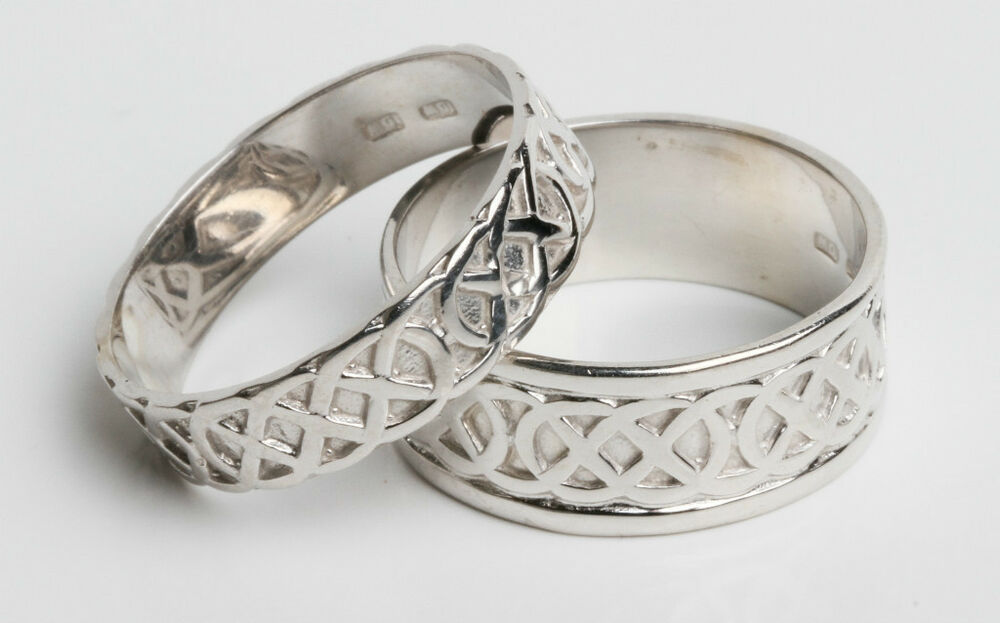 Set 14k White Gold Irish Handcrafted Celtic Knot Wedding Rings Sizes 4 To 13