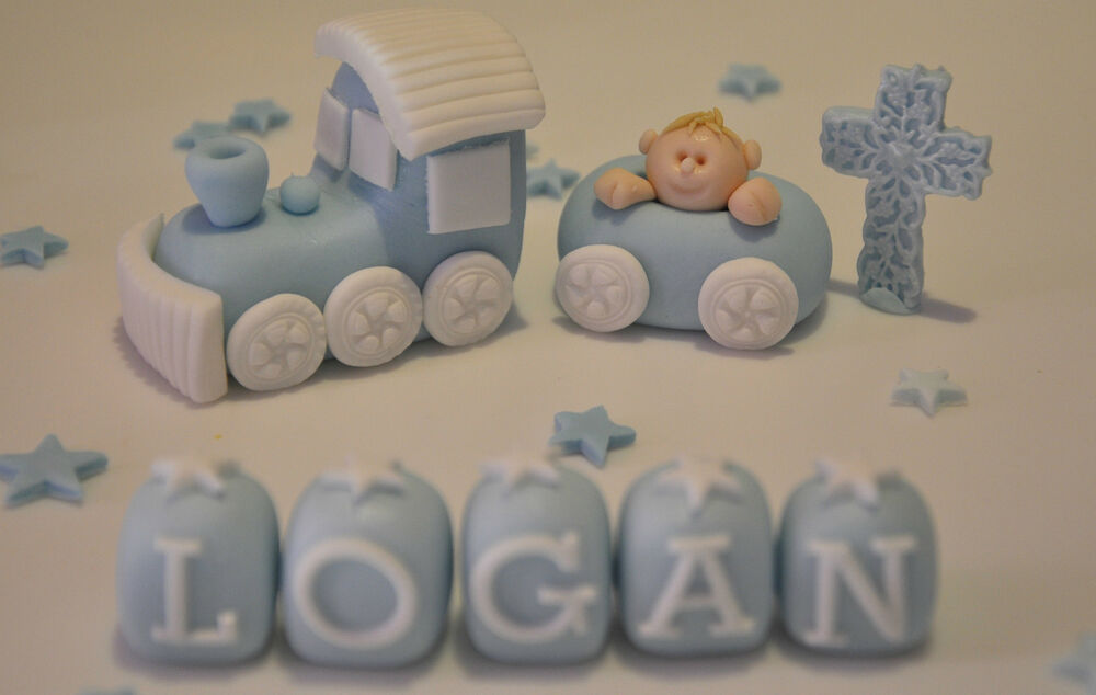 Christening Cake Toppers Baby Boy : HANDMADE EDIBLE BABY BOY TRAIN CHRISTENING BIRTHDAY CAKE ...