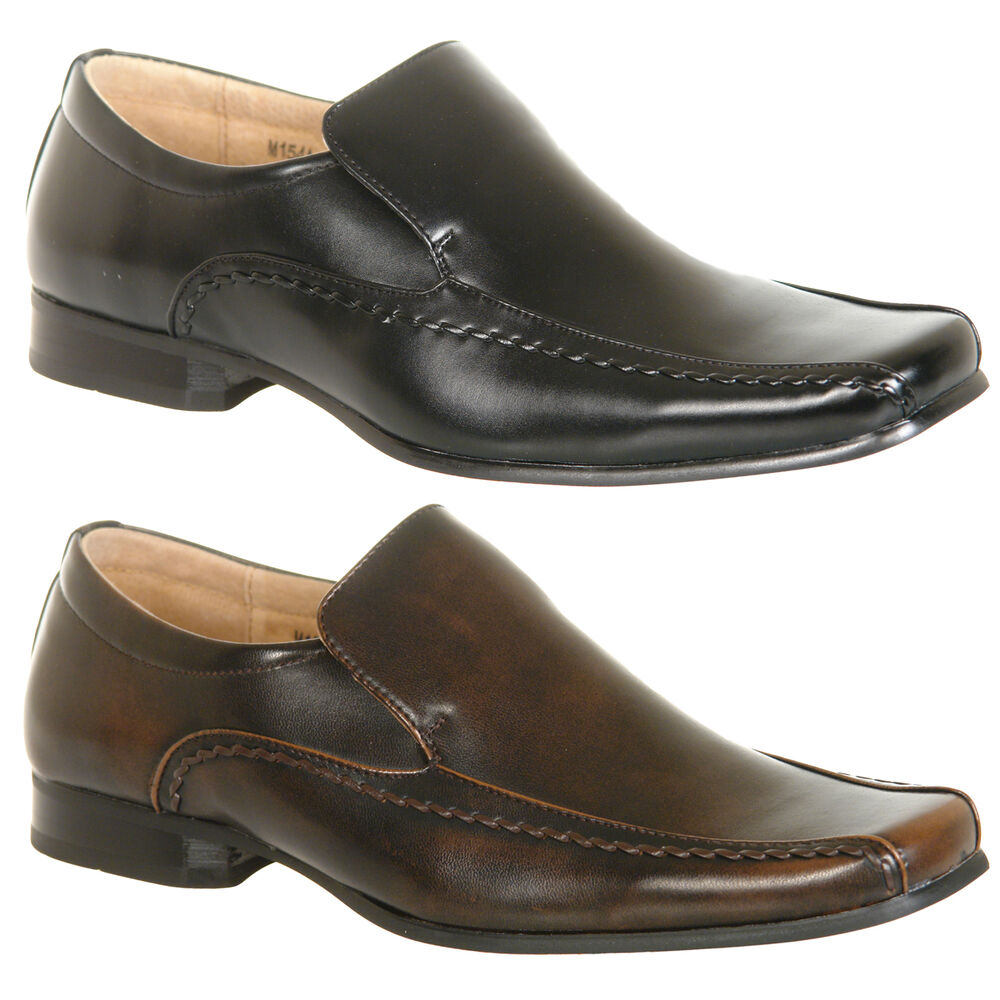 Mens Leather Lined Slip On Shoes In Black Or Brown Size 6 7 8 9 10 11 12 | EBay