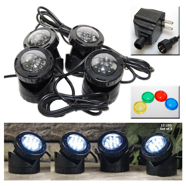 led super bright outdoor underwater pond fountain spot light kits 4. Black Bedroom Furniture Sets. Home Design Ideas