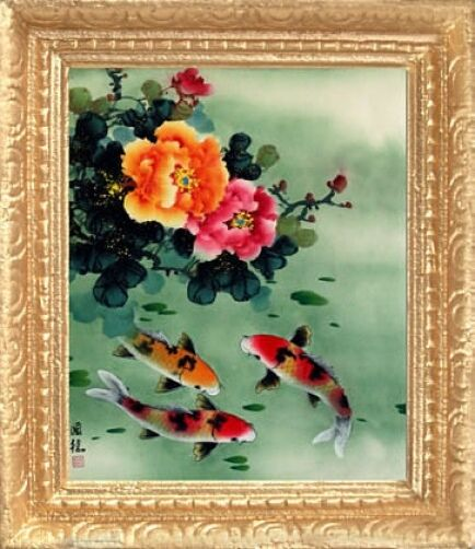 Koi fish blossoms dollhouse picture asian framed art for Koi fish framed prints