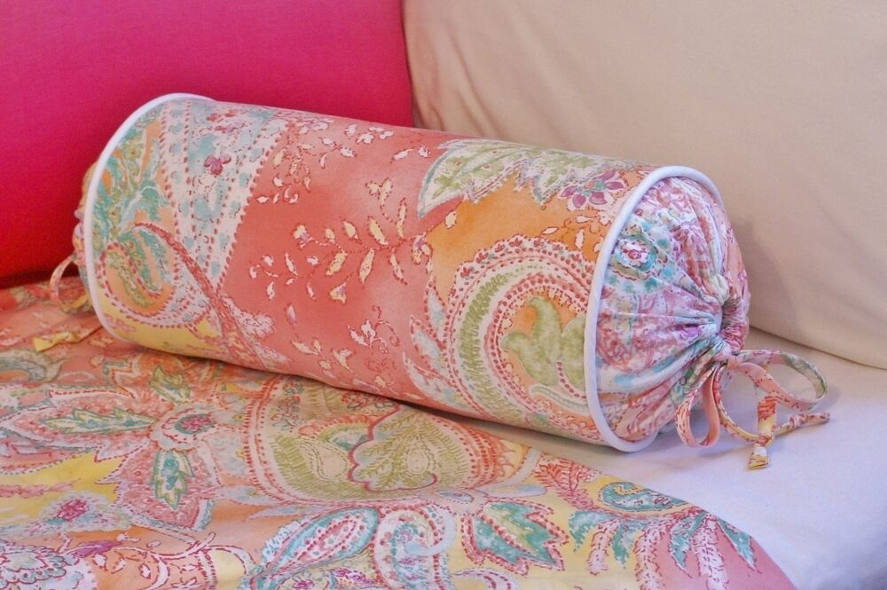 Decorative Bed Roll Pillows : NEW Custom Ralph Lauren Jamaica Pink Paisley Neck Roll Pillow Neckroll White P eBay