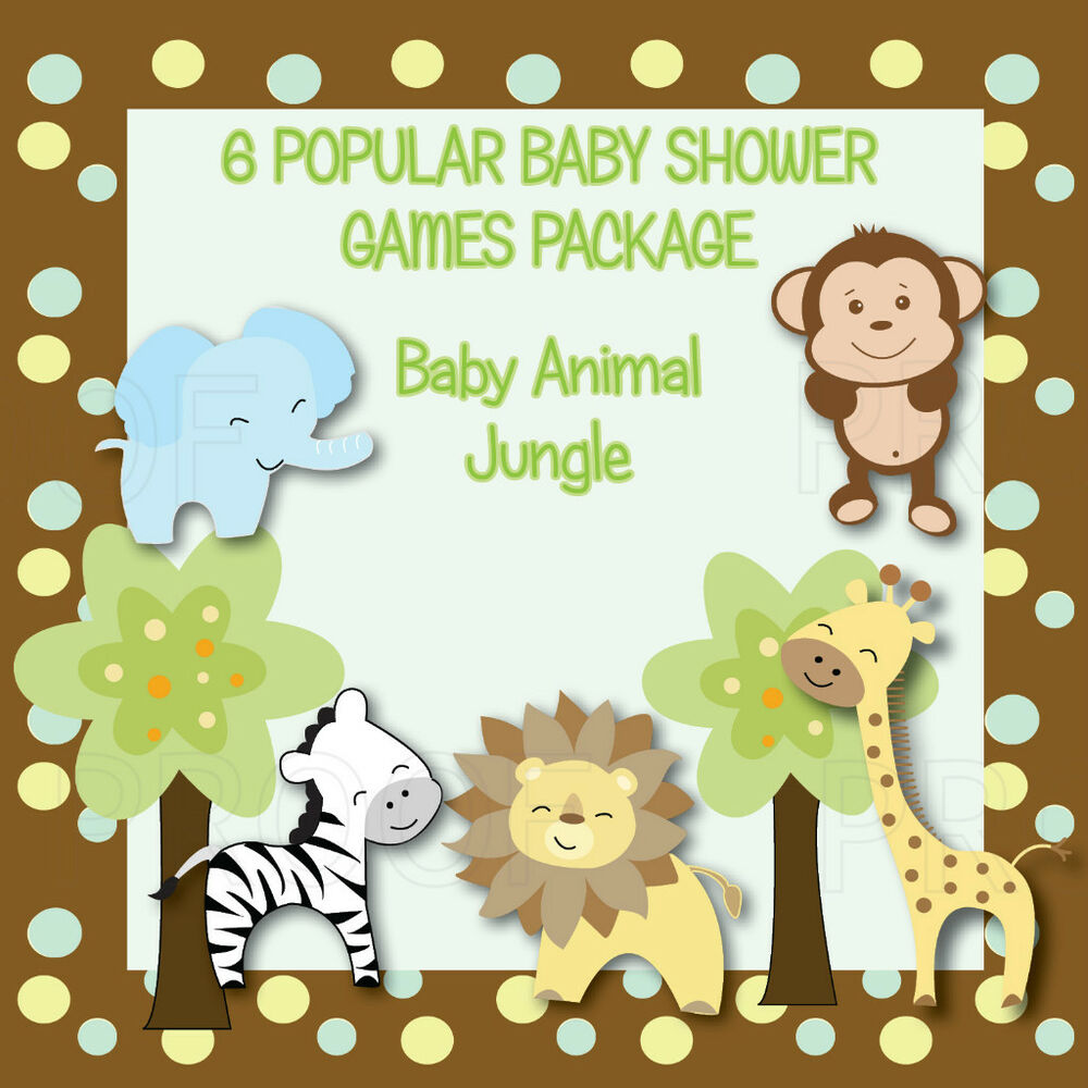 6 JUNGLE ANIMAL PRINTABLE Personalized Baby Shower Games