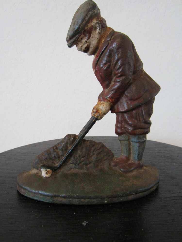 Vintage Cast Iron Original Paint Golfer Door Stop Ebay