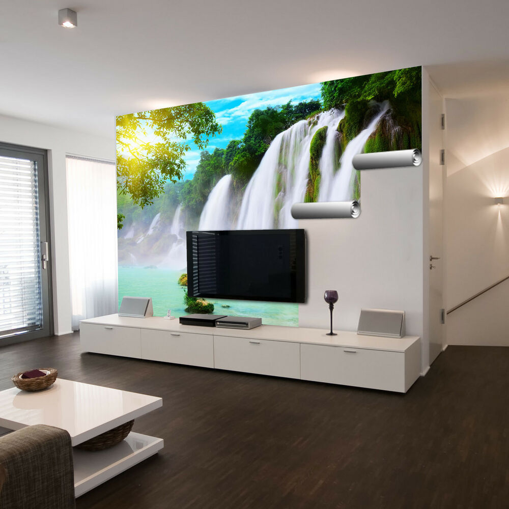 selbstklebende xxl fotofolie wasserfall ohne kleister verklebbar klebefolie ebay. Black Bedroom Furniture Sets. Home Design Ideas
