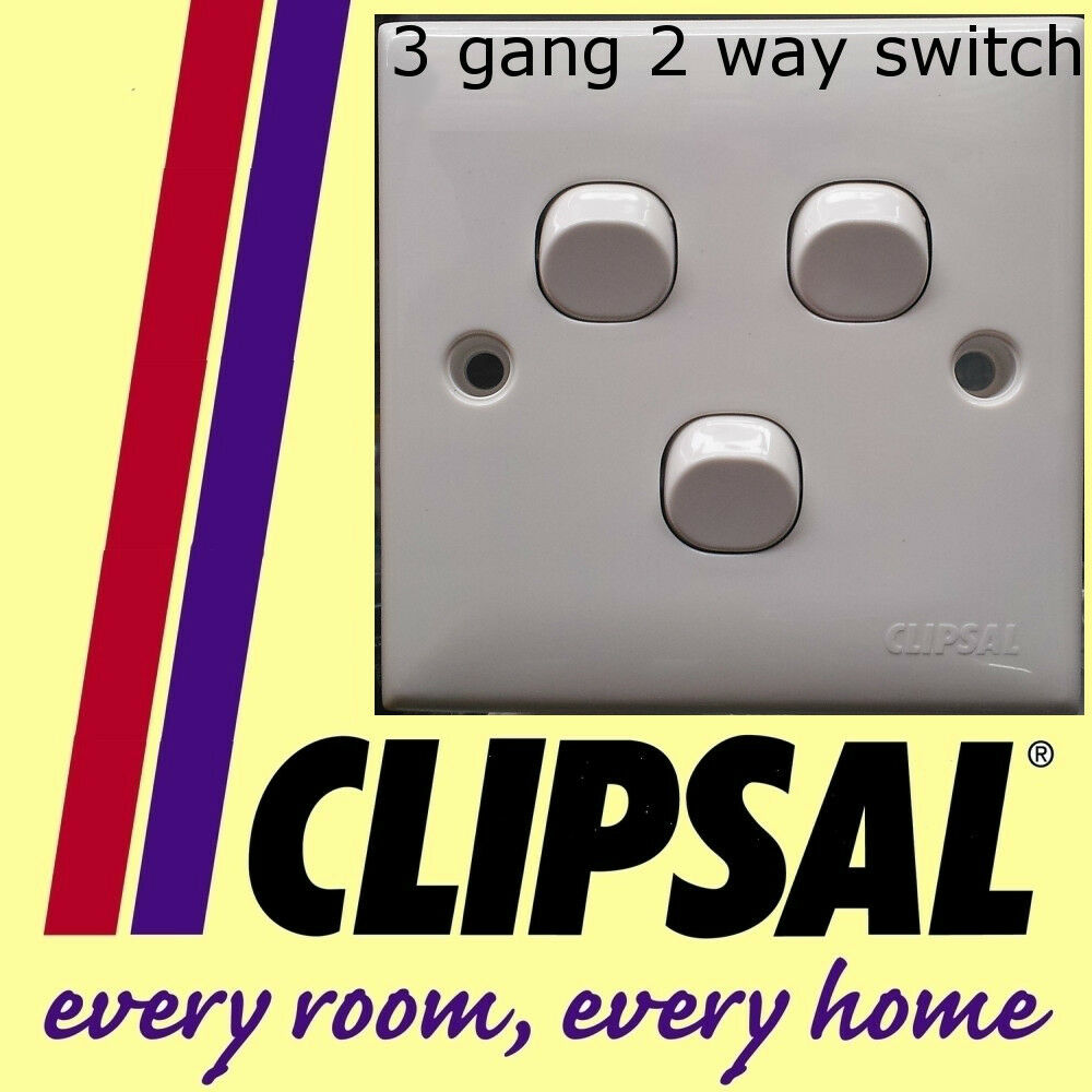 Schneider Clipsal 3 Gang 2 Way Switch White Plastic Staircase Two Vs Lighting New Diy 601629789149 Ebay