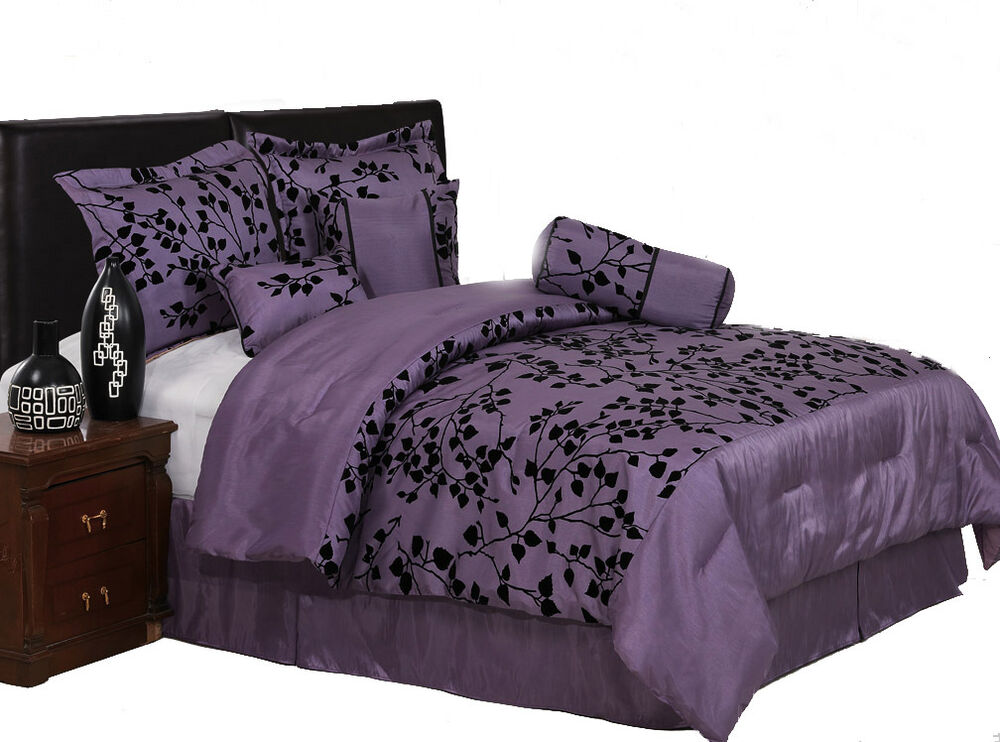 7 pieces purple with black velvet floral flocking comforter set bed in a bag new ebay. Black Bedroom Furniture Sets. Home Design Ideas