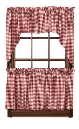 Red Check Gingham Cafe Curtains Tier Set Valance Swags