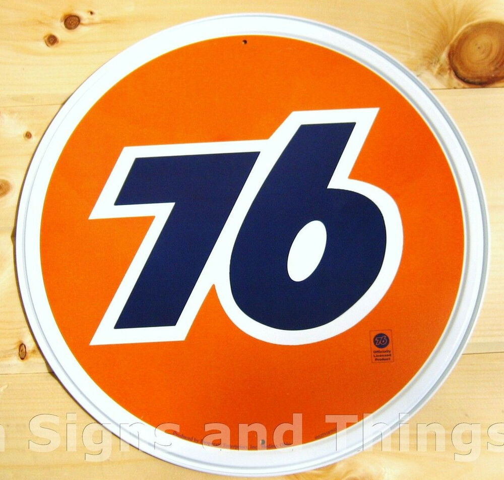 Union 76 Round Tin Sign Vintage Motor Gas And Oil Ad