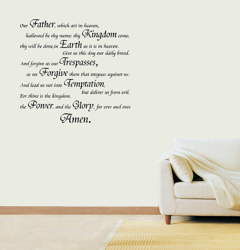 The Lord S Love Wall Decal: The Lord's Prayer Vinyl Sticker Wall Art Bedroom Decal