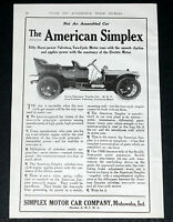 1909 OLD MAGAZINE PRINT AD,AMERICAN SIMPLEX TOURING AUTOMOBILE, 50 HP, 2 CYCLE!