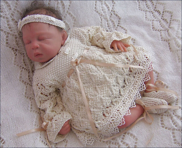 Knitting Pattern For Doll Booties : Baby Knitting Pattern 9 TO KNIT Niamh Girls Christening Dress Headband Bootie...