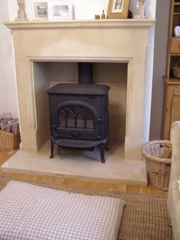 Canterbury bath stone fireplace fire surround price for Stone fireplace hearth prices