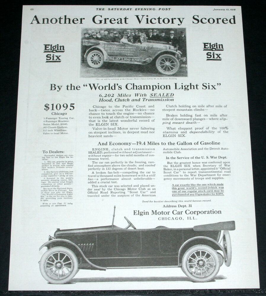 1918 old magazine print ad elgin six motor car chicago Motor vehicle chicago
