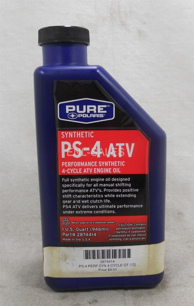 Polaris 2874414 ps 4 atv performance synthetic 4 cycle atv for Pure synthetic motor oil