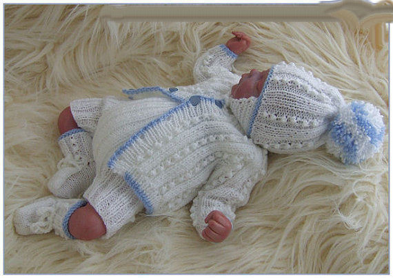 Knitted Baby Boy Hat Patterns : Baby Boys Knitting Pattern DK 25 TO KNIT Cardigan Hat Trousers Bootees Reborn...