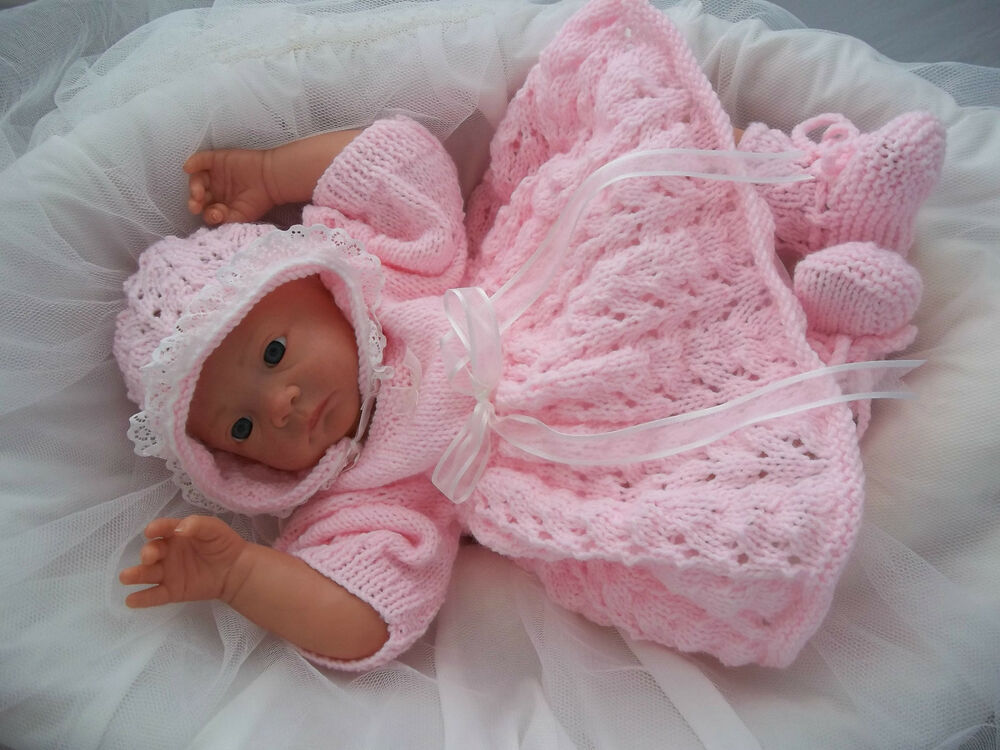 Baby Knitting Pattern DK 28 TO KNIT Girls Dress, Bonnet & Booties Reborn ...