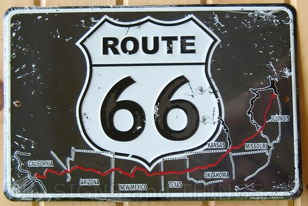 8x12 us route 66 aluminum sign rt vtg metal garage wall for Garage route 66 metz