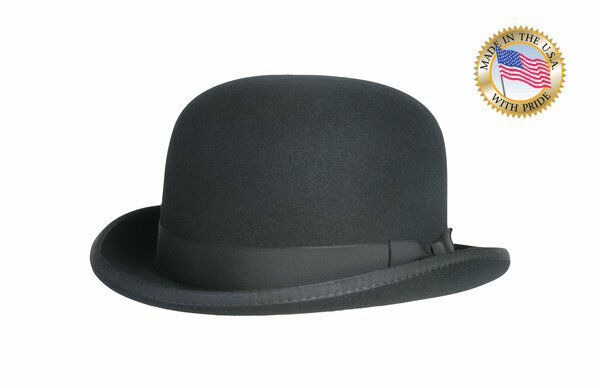 Shannon Phillips BLACK DERBY Hat Wool Bowler Mens Ladies ALL SIZES New MADE USA