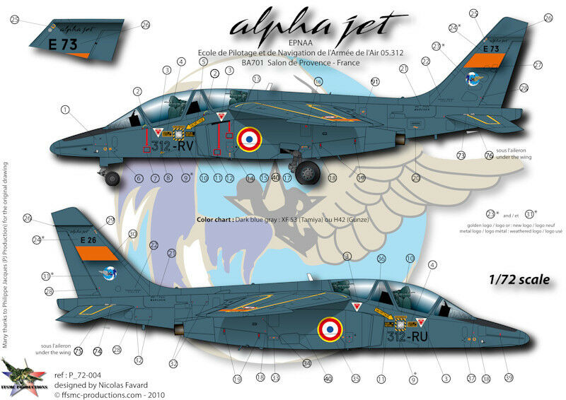 ffsmc productions decals 1 72 alphajet e epnaa ebay. Black Bedroom Furniture Sets. Home Design Ideas