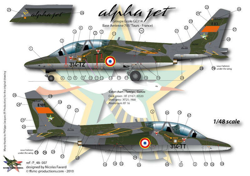 ffsmc productions decals 1 48 alphajet e ge314 tours ebay. Black Bedroom Furniture Sets. Home Design Ideas