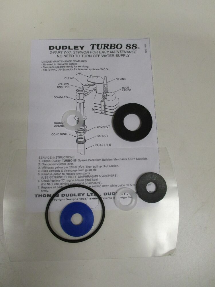 Dudley Turbo 88 2 Part Toilet Syphon Washer Pack Fits All