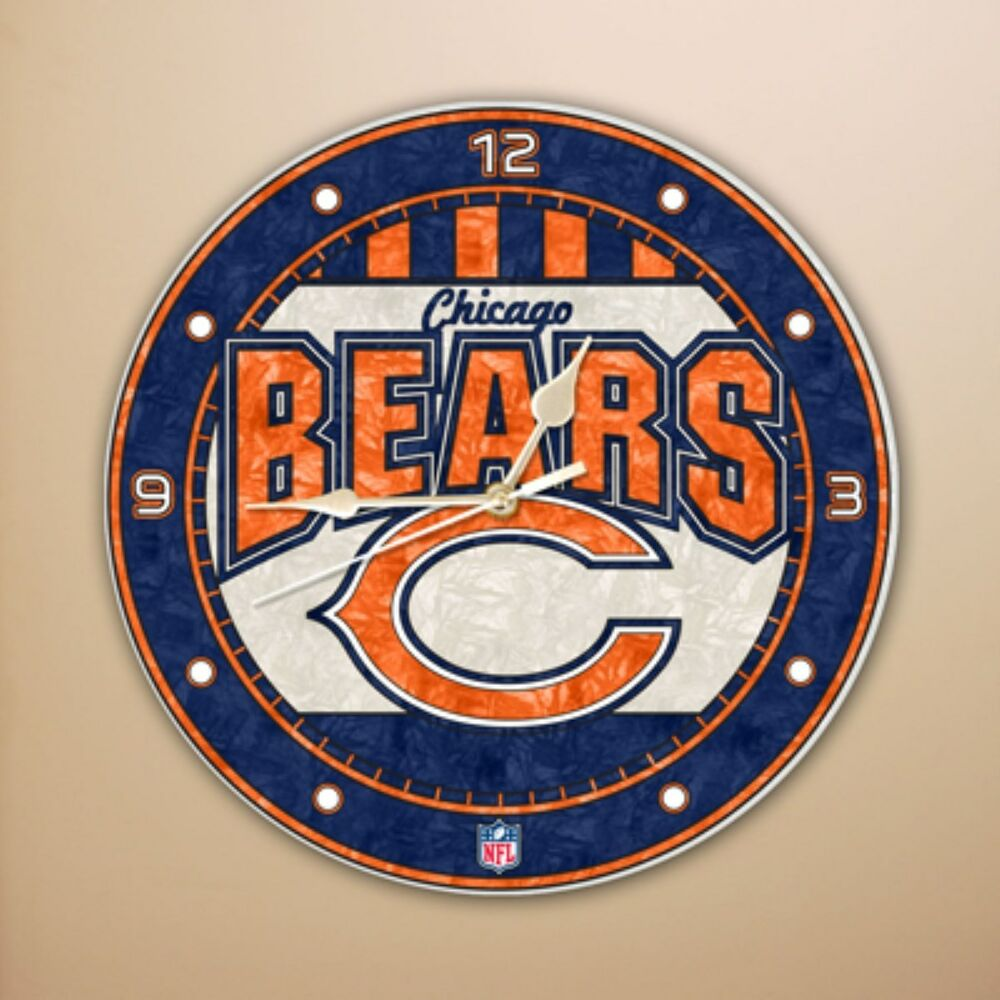 Chicago Bears Nfl Football Sports Logo 12 Quot Art Glass Clock
