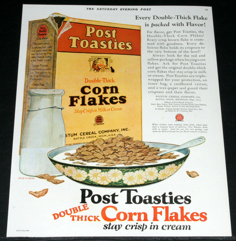 1925 OLD MAGAZINE PRINT AD, POST TOASTIES CEREAL DOUBLE