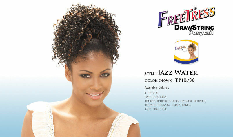 Jazz Water Freetress Drawstring Ponytail Short Curly Hair
