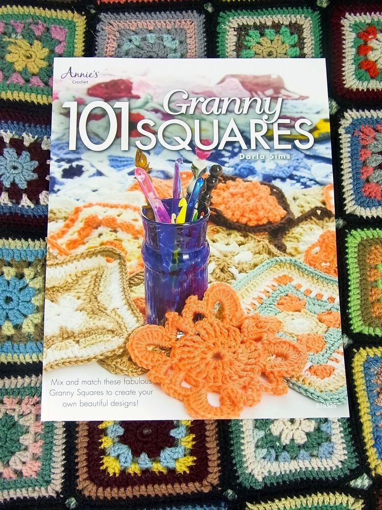 Book Cover Crochet Granny : Crochet pattern book granny squares yarn wool craft