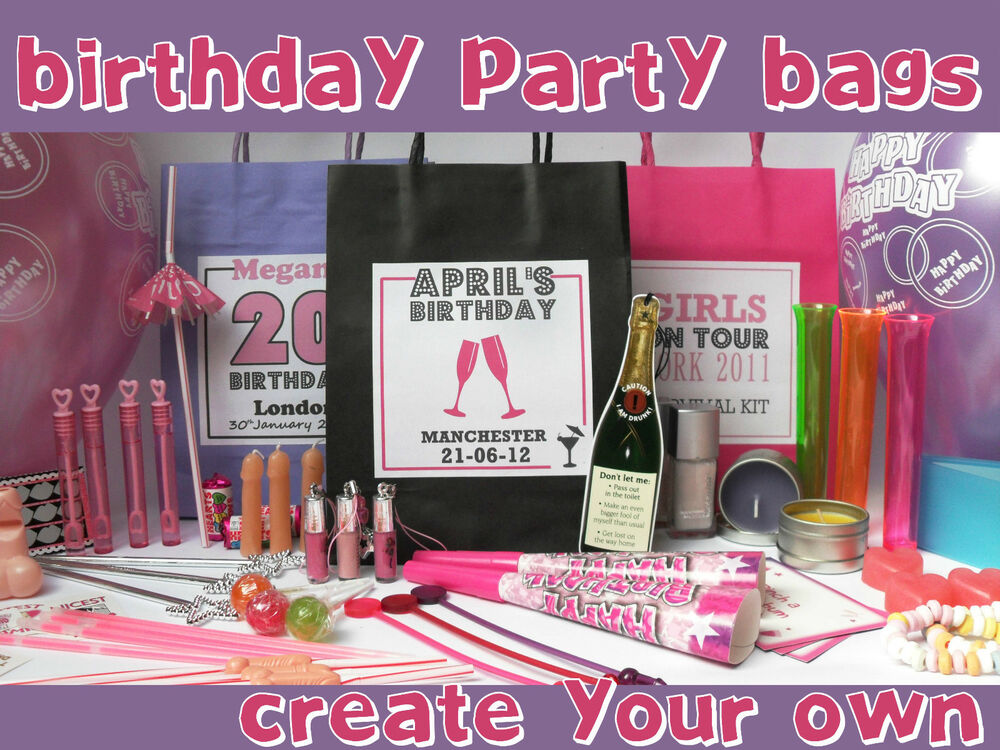BIRTHDAY PARTY PERSONALISED GIFT BAG FILLED ADULT GIRLS