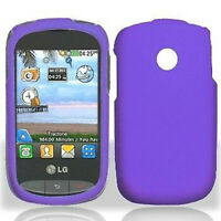 For TracFone Net10 LG 800g Rubber HARD Protector Case Phone Cover Dark Purple