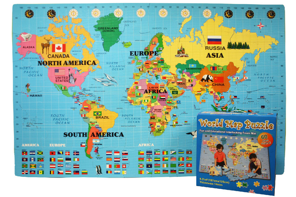Incstores world puzzle play mat large 4ft x 6ft interlocking incstores world puzzle play mat large 4ft x 6ft interlocking foam map puzzle ebay gumiabroncs Gallery