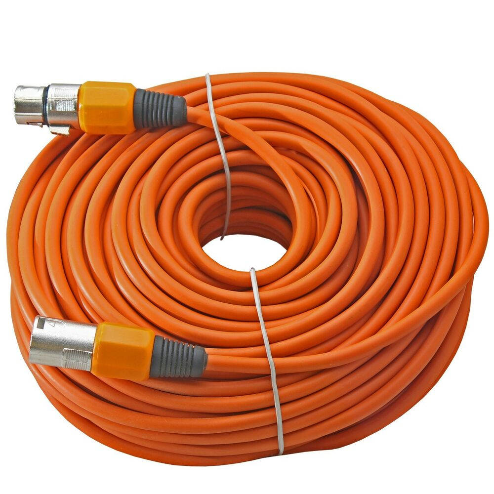 100 ft foot xlr 3pin male to female orange mic microphone extension cable cord ebay. Black Bedroom Furniture Sets. Home Design Ideas