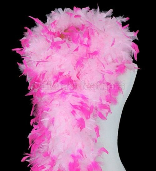 180g Baby Pink With Hot Pink Tips Chandelle Feather Boa