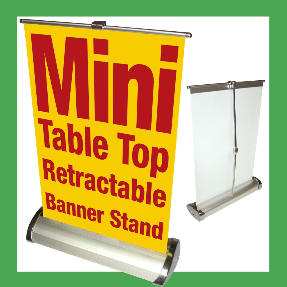 Mini Table Top Retractable Banner Stand A4 8 25x12 25 Ebay