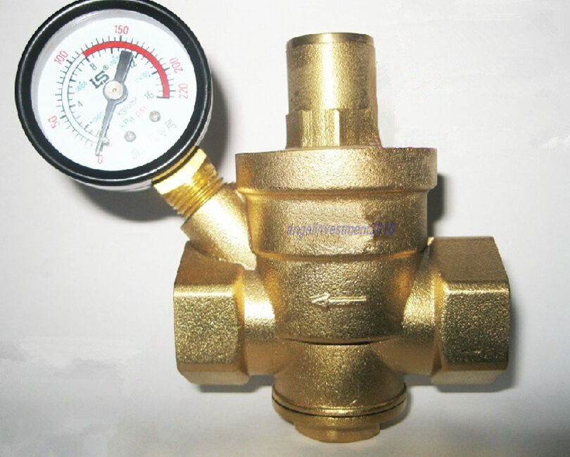 1pc new 1 39 39 brass water pressure reducing valve 1 39 39 bspp with pressure gauge ebay. Black Bedroom Furniture Sets. Home Design Ideas