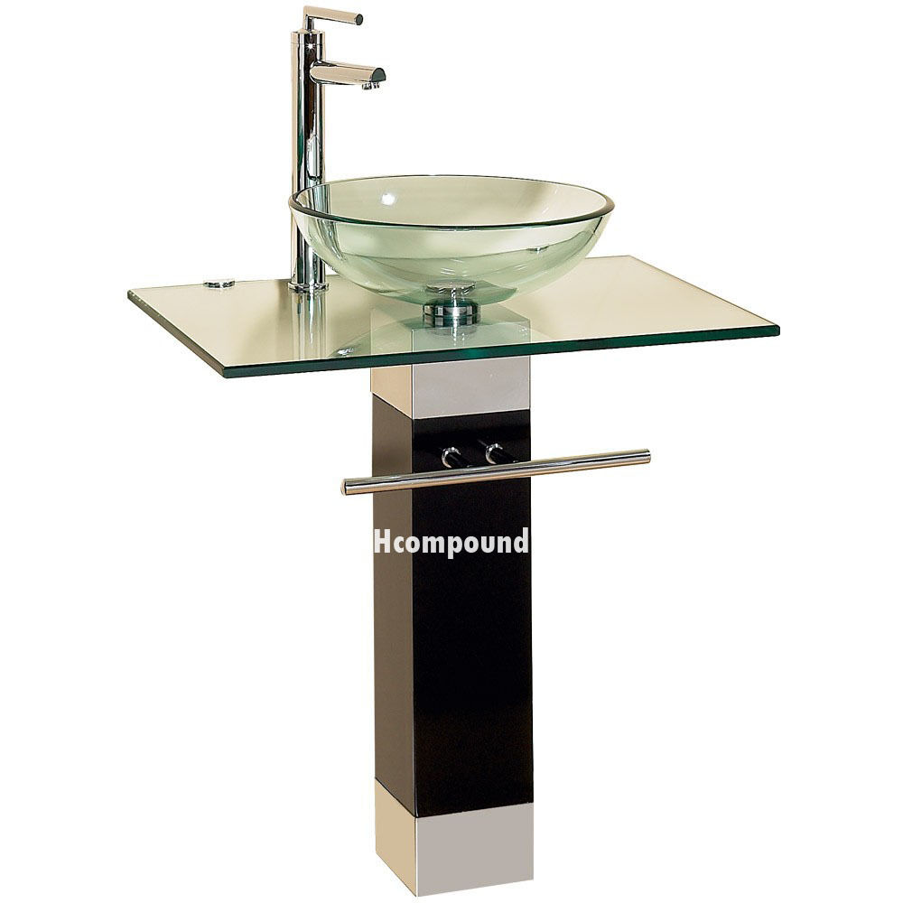 Modern Bathroom Vanities Pedestal Glass Bowl Vessel Sink Combo W Faucet Set