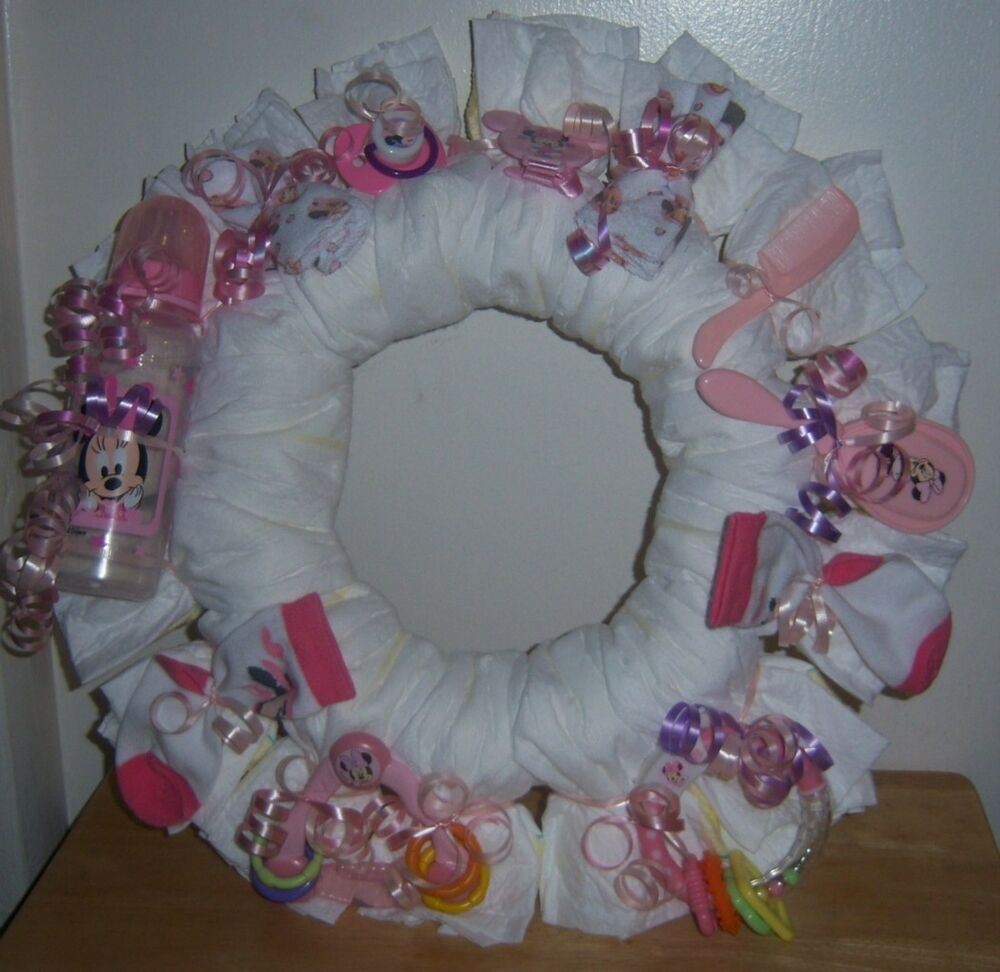 baby shower minnie mouse diaper wreath swaddler diapers pacifier
