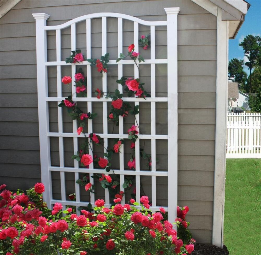 New england arbors decorative garden flower plant white for Wall trellis ideas