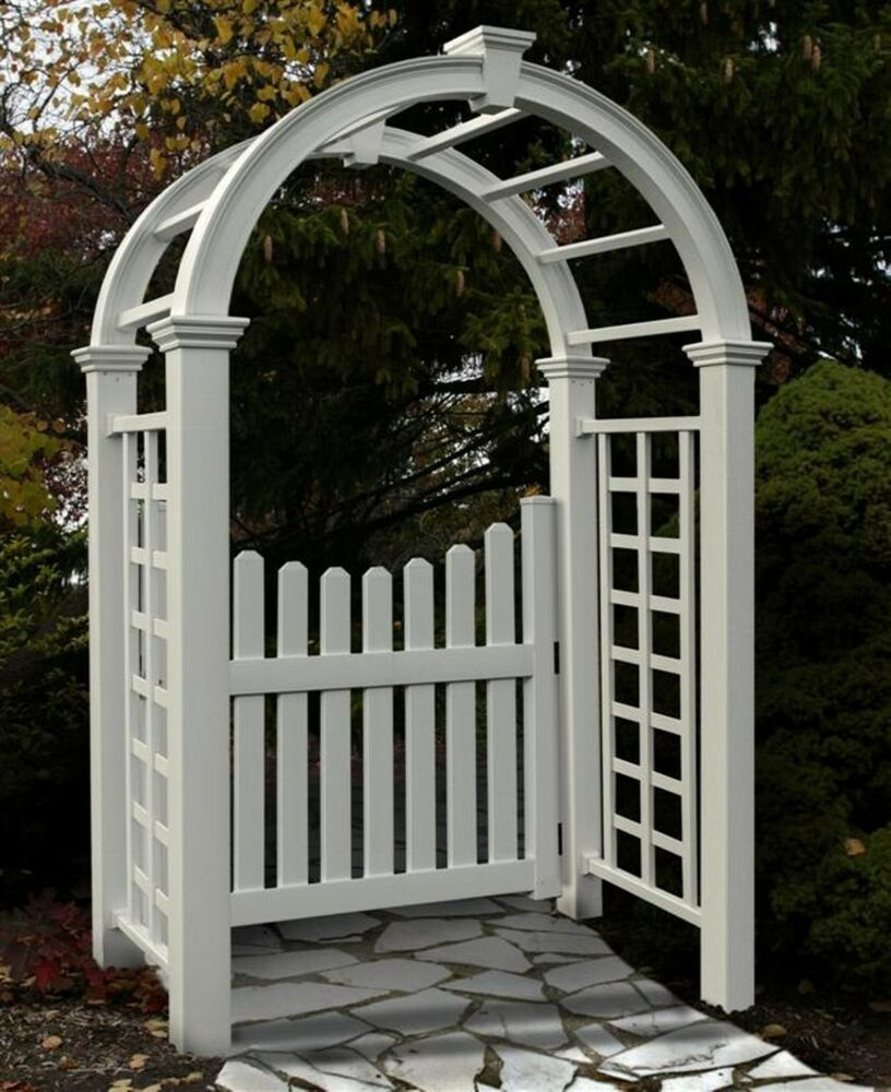 New england arbors decorative nantucket deluxe garden for Fence with arbor