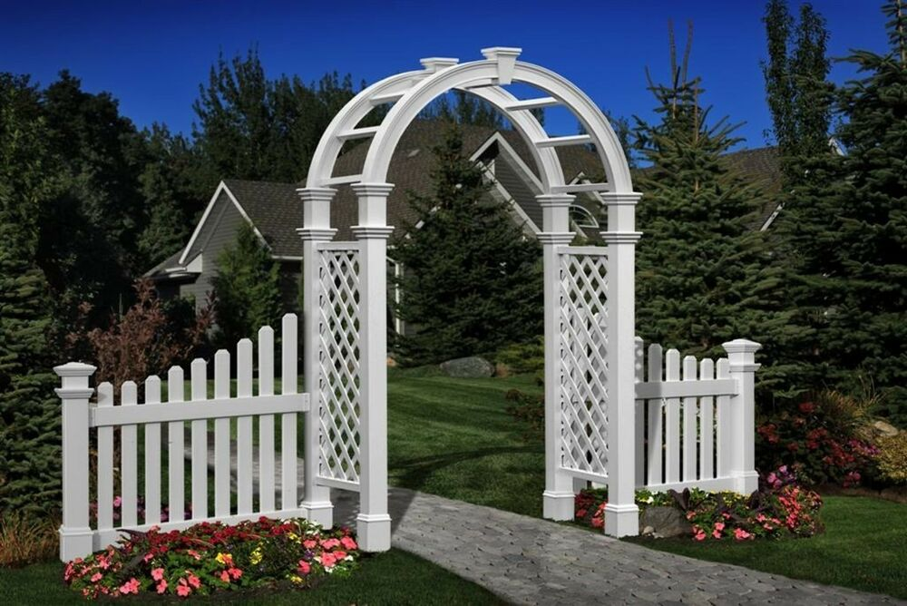New england arbors decorative nantucket legacy garden patio arch w 2 fence wings ebay - Decoratie new england ...