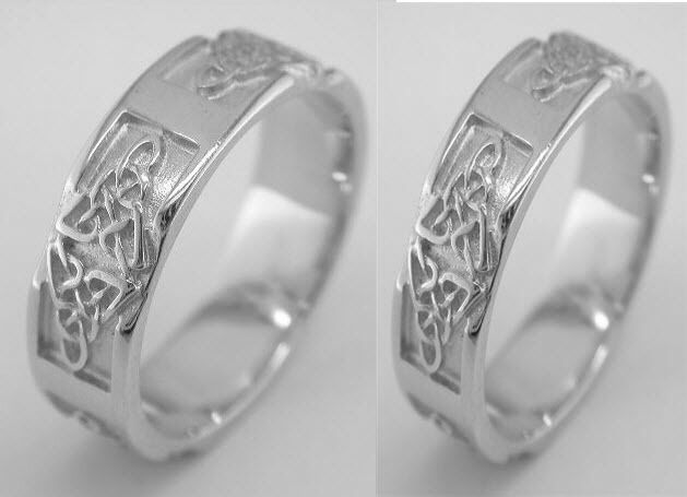 Irish 14k White Gold Celtic Knot Wedding Band Ring Set ...
