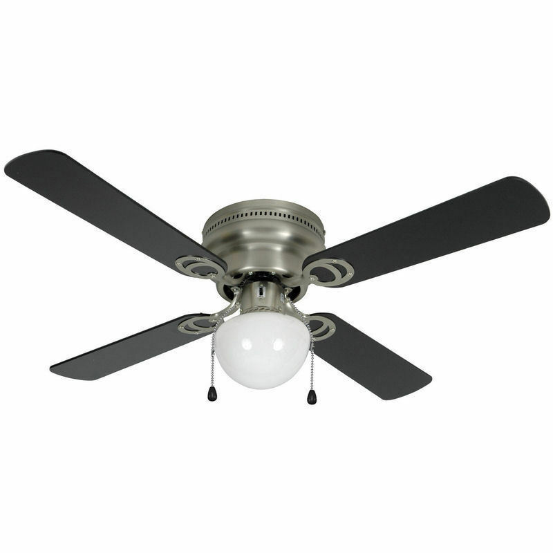 42 satin nickel flush mount hugger ceiling fan 543611 ebay