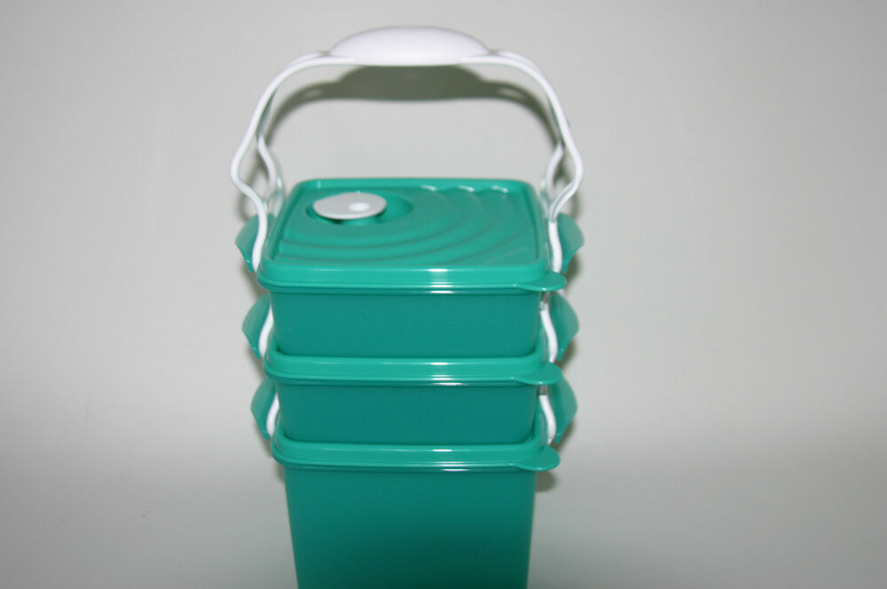 tupperware crystalwave microwave square goody bento lunch set carrying handle ebay. Black Bedroom Furniture Sets. Home Design Ideas